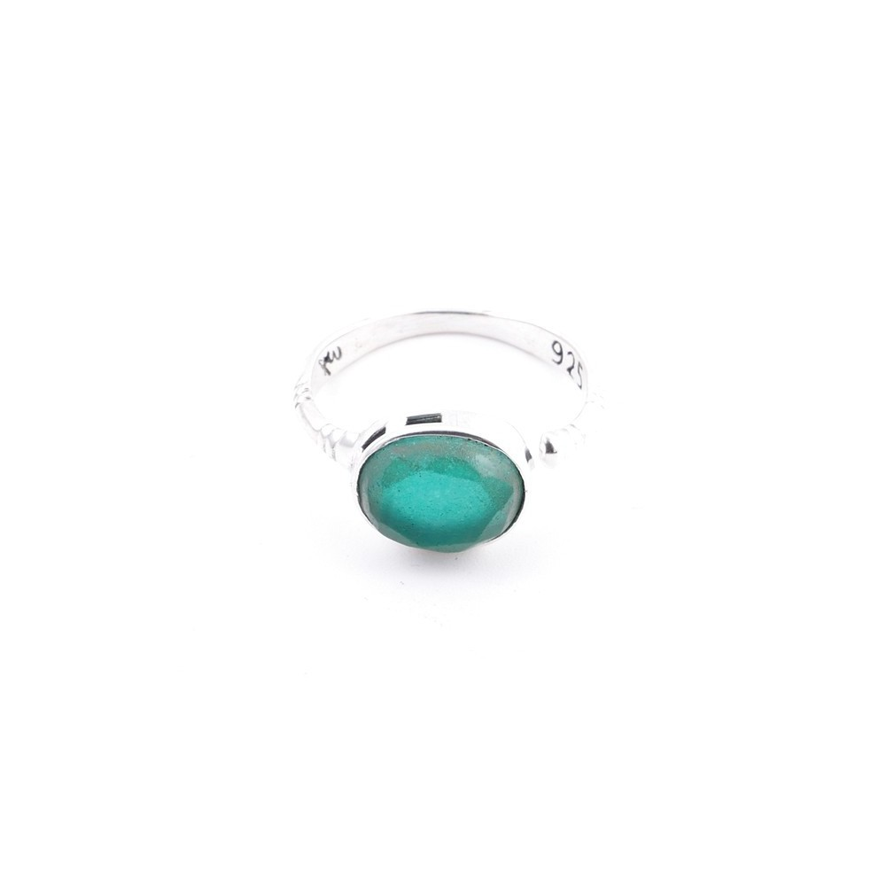 58200-03 ADJUSTABLE 10 X 12 MM SILVER RING WITH STONE IN EMERALD
