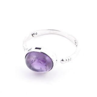 58200-06 ADJUSTABLE 10 X 12 MM SILVER RING WITH STONE IN AMETHYST