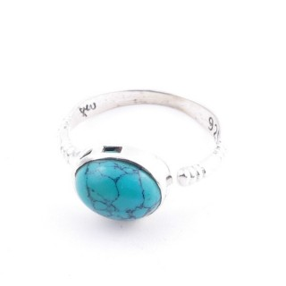 58200-07 ADJUSTABLE 10 X 12 MM SILVER RING WITH STONE IN TURQUOISE
