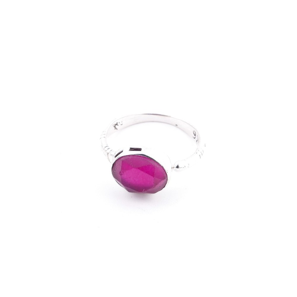 58200-09 ADJUSTABLE 10 X 12 MM SILVER RING WITH STONE IN RUBY