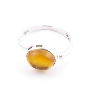 58200-12 ADJUSTABLE 10 X 12 MM SILVER RING WITH STONE IN AMBER