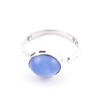 58200-15 ADJUSTABLE 10 X 12 MM SILVER RING WITH STONE IN BLUE ONYX