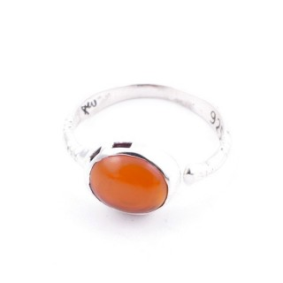 58200-16 ADJUSTABLE 10 X 12 MM SILVER RING WITH STONE IN CARNELIAN