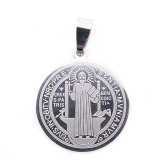 36162-44 STAINLESS STEEL SAINT BENEDICT 2 SIDED 25 MM PENDANT
