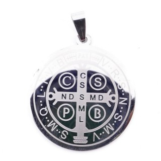 36162-45 STAINLESS STEEL SAINT BENEDICT 2 SIDED 35 MM PENDANT