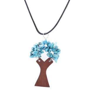 37323-03 WAX CORD 45 CM NECKLACE & WOODEN TREE WITH TURQUOISE STONES