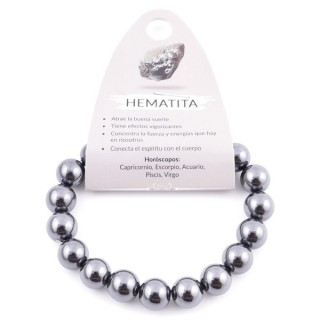 37637-39 ELASTIC 10 MM NATURAL STONE BRACELET IN HEMATITE