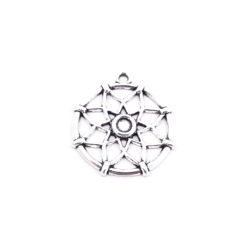 31871-25 PACK OF 8 METAL DREAM CATCHER 26 MM CHARMS