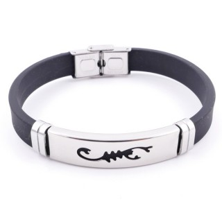 36133-18 STAINLESS STEEL & RUBBER MENS' FASHION BRACELET