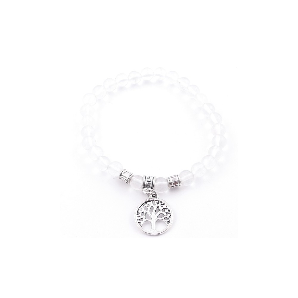 33003-02 TRANSPARENT GLASS BEAD 6 MM BRACELET WITH TREE OF LIFE CHARM