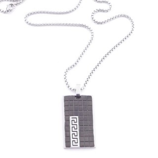 38923 STAINLESS STEEL 49 CM NECKLACE FOR MEN WITH 35 X 20 MM PENDANT