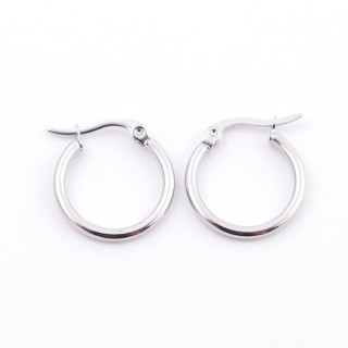 38885 STAINLESS STEEL 15 MM HOOP EARRINGS