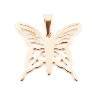 38941-02 STAINLESS STEEL BUTTERFLY SHAPED PENDANT 31 X 35 MM