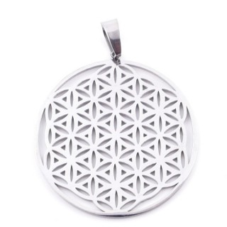 38927 FLOWER OF LIFE SHAPED 39 MM STAINLESS STEEL PENDANT