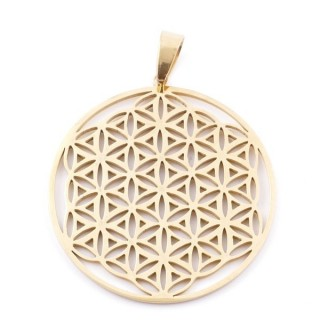 38928 FLOWER OF LIFE SHAPED 39 MM STAINLESS STEEL PENDANT