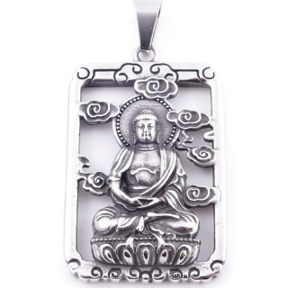 38935 STAINLESS STEEL 52 X 37 MM RECTANGULAR PENDANT WITH BUDDHA