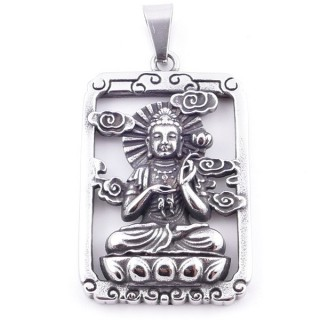 38934 STAINLESS STEEL 52 X 37 MM RECTANGULAR PENDANT WITH QUAN YIN