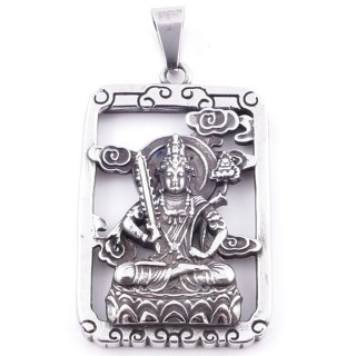 38933 STAINLESS STEEL 52 X 37 MM RECTANGULAR PENDANT WITH LAKSHMI