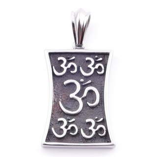 38932 STAINLESS STEEL 40 X 38 MM PENDNAT WITH OM SYMBOL