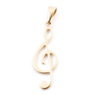 38941-01 STAINLESS STEEL TREBLE CLEF SHAPED PENDANT 42 X 15 MM