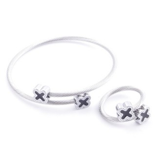 37884-28 SET OF LADIES MATCHING ADJUSTABLE BRACELET & RING IN STAINLESS STEEL WIRE