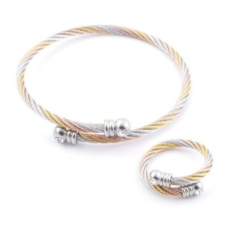 38539-05 SET OF LADIES MATCHING ADJUSTABLE BRACELET & RING IN STAINLESS STEEL WIRE