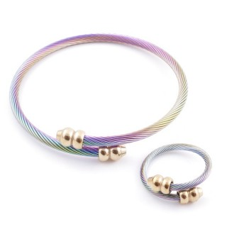 38538-06 SET OF LADIES MATCHING ADJUSTABLE BRACELET & RING IN STAINLESS STEEL WIRE