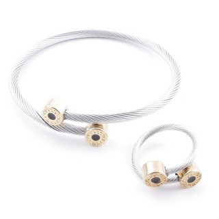 38538-07 SET OF LADIES MATCHING ADJUSTABLE BRACELET & RING IN STAINLESS STEEL WIRE