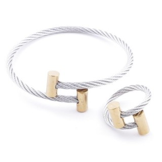 38538-08 SET OF LADIES MATCHING ADJUSTABLE BRACELET & RING IN STAINLESS STEEL WIRE