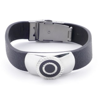 38921 ADJUSTABLE STAINLESS STEEL & LEATHER BRACELET FOR MEN. 18 MM THICK