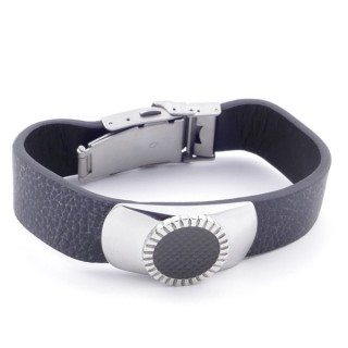 38920 ADJUSTABLE STAINLESS STEEL & LEATHER BRACELET FOR MEN. 18 MM THICK