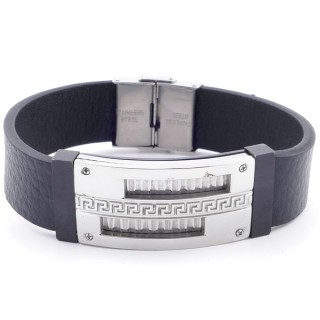 38918 ADJUSTABLE STAINLESS STEEL & LEATHER BRACELET FOR MEN. 18 MM THICK