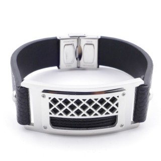 38914 ADJUSTABLE STAINLESS STEEL & LEATHER BRACELET FOR MEN. 18 MM THICK