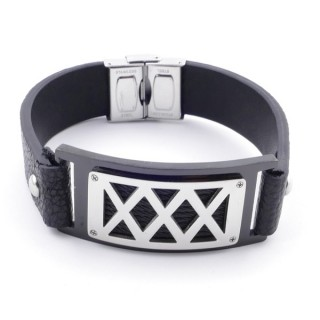 38915 ADJUSTABLE STAINLESS STEEL & LEATHER BRACELET FOR MEN. 18 MM THICK