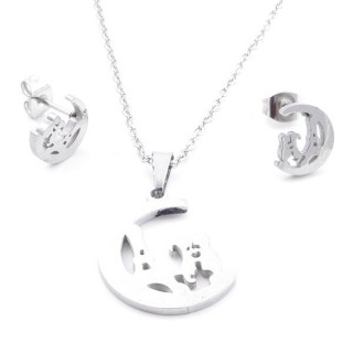 35584-60 SET OF CHAIN, PENDANT AND MATCHING EARRINGS IN STAINLESS STEEL
