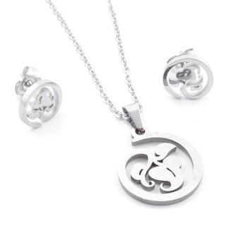 35584-61 SET OF CHAIN, PENDANT AND MATCHING EARRINGS IN STAINLESS STEEL