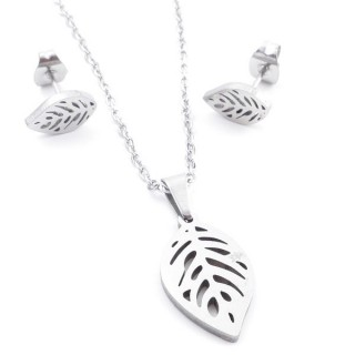 35584-64 SET OF CHAIN, PENDANT AND MATCHING EARRINGS IN STAINLESS STEEL