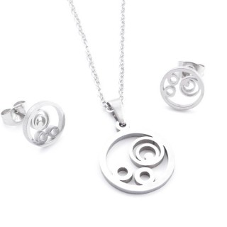 35584-67 SET OF CHAIN, PENDANT AND MATCHING EARRINGS IN STAINLESS STEEL