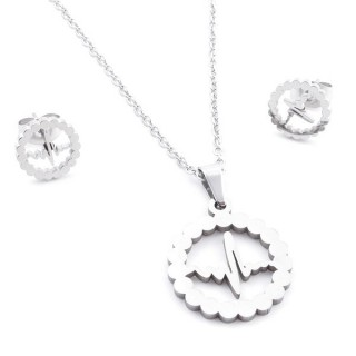 35584-68 SET OF CHAIN, PENDANT AND MATCHING EARRINGS IN STAINLESS STEEL