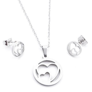 35584-69 SET OF CHAIN, PENDANT AND MATCHING EARRINGS IN STAINLESS STEEL