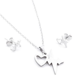 35584-73 SET OF CHAIN, PENDANT AND MATCHING EARRINGS IN STAINLESS STEEL