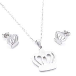 35584-75 SET OF CHAIN, PENDANT AND MATCHING EARRINGS IN STAINLESS STEEL