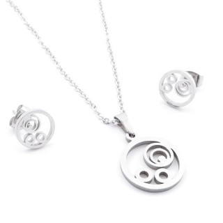 35584-76 SET OF CHAIN, PENDANT AND MATCHING EARRINGS IN STAINLESS STEEL