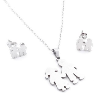 35584-77 SET OF CHAIN, PENDANT AND MATCHING EARRINGS IN STAINLESS STEEL