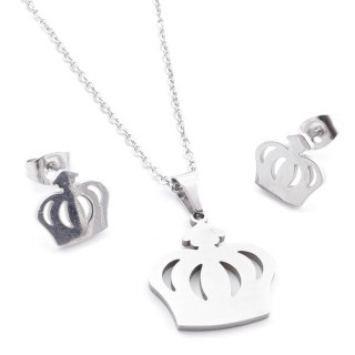 35584-79 SET OF CHAIN, PENDANT AND MATCHING EARRINGS IN STAINLESS STEEL