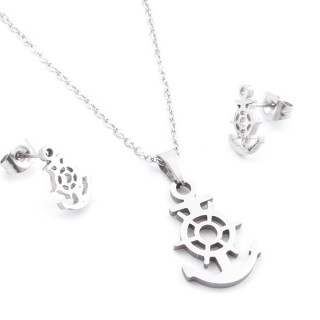 35584-80 SET OF CHAIN, PENDANT AND MATCHING EARRINGS IN STAINLESS STEEL