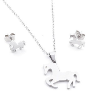 35584-82 SET OF CHAIN, PENDANT AND MATCHING EARRINGS IN STAINLESS STEEL