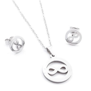 35584-83 SET OF CHAIN, PENDANT AND MATCHING EARRINGS IN STAINLESS STEEL