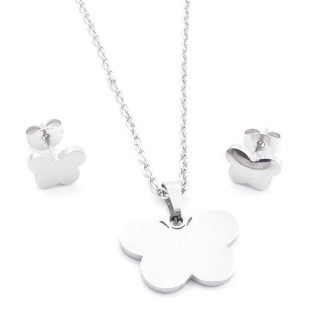 35584-84 SET OF CHAIN, PENDANT AND MATCHING EARRINGS IN STAINLESS STEEL