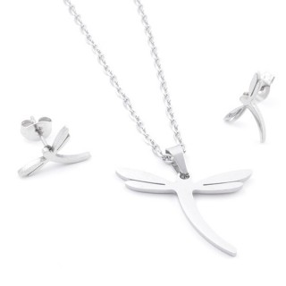 35584-66 SET OF CHAIN, PENDANT AND MATCHING EARRINGS IN STAINLESS STEEL
